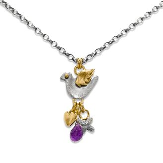 """Dove necklace.  16"""" fine belcher chain with dove, heart, kiss charms & amethyst briolette drop in silver with gold plated detail.  Sophie Harley, Beautiful Designer PFN11 from the Papillion Rose collection."""