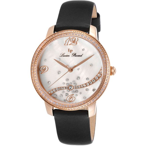 Lucien Piccard Women's Mirage Stainless Steel Watch, 36mm - Black (£76) ❤ liked on Polyvore featuring jewelry, watches, black, water resistant watches, lucien piccard jewelry, lucien piccard, leather-strap watches and white faced watches