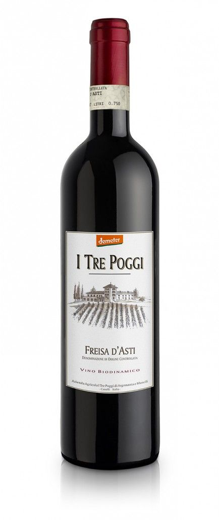"Freisa d'Asti DOC 2011 – I Tre Poggi € 14.35 Biodynamic Wines from the Organic cultivation  The typical products of the ""I Tre Poggi"" farm, the DOC wines, follow the biological disciplinary specifications (the Codex Certification) and the biodynamic specifications (the Demeter certification).  What prevails in its scent is the delicate aroma of roses and raspberries, which evolves into a pleasant musky fragrance with aging. #wine #piedmont #italy #freisa #langhe"