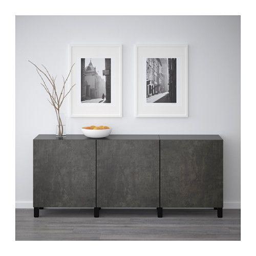 BESTÅ Storage combination with doors - black-brown Kallviken/dark gray concrete effect - IKEA
