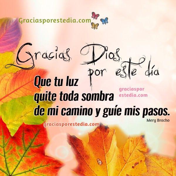 Frases de acción de gracias a Dios por este día, oración corta con imágenes  de