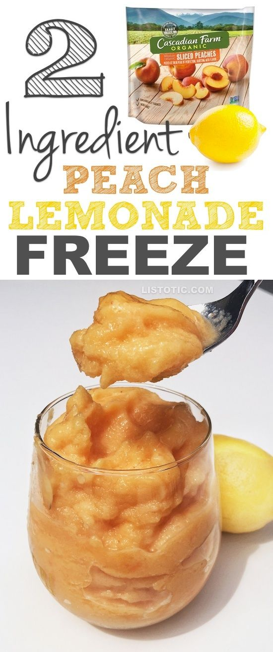 Healthy 2-Ingredient, Super Easy Peach Lemonade Freeze (like soft serve!) Dairy free, sugar free, clean eating dessert. | A yummy summer treat for adults and kids!