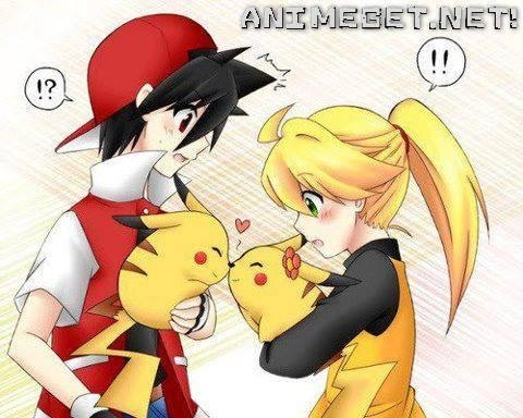 awww pikachu love <3 and red/yellow love ^-^