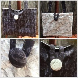 This fully reversible bag was made using two of Maree Browne's fabrics – available exclusively through Woven by Society. The dark and light leaf fabrics compliment each other perfectly and can be found here. The bag is a decent size and has a loop to the covered buttons to secure it.