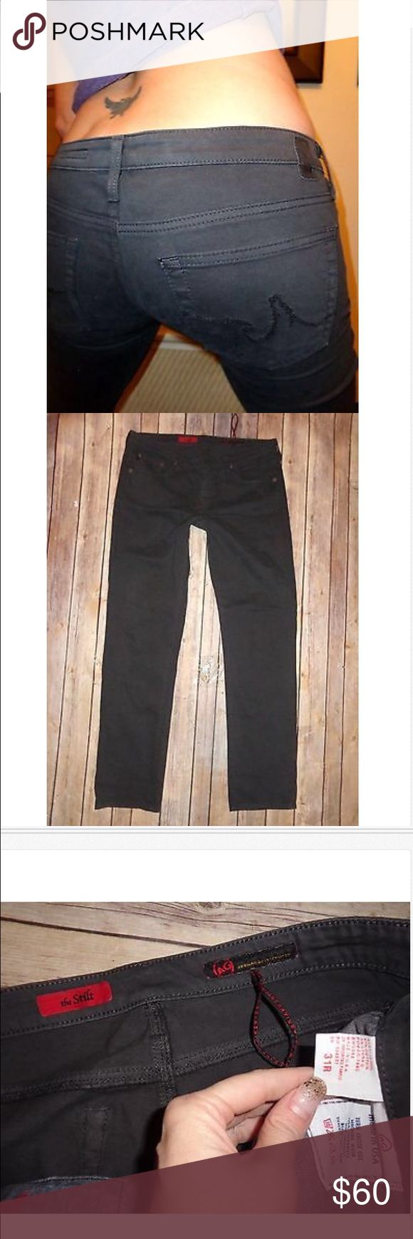 AG Adriano Goldschmied STILT Cigarette Pants 31 AG Adriano Goldschmied Low Rise Skinny Cigarette Leg Stretch Jeans! Great Used! 97% cotton & 3% spandex 17.5 across & 8.5 rise AG Adriano Goldschmied Pants Skinny