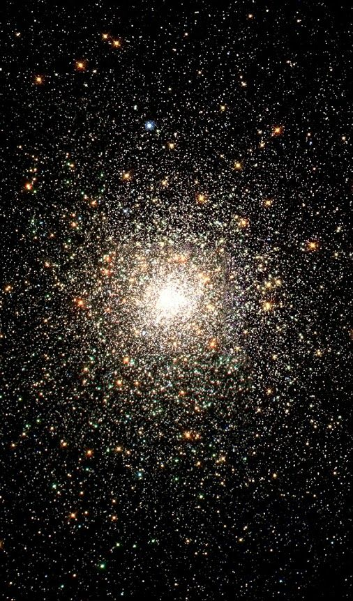 This stellar swarm is M80 (NGC 6093), one of the densest of the 147 known globular star clusters in the Milky Way galaxy. Located about 28,000 light-years from Earth, M80 contains hundreds of thousands of stars, all held together by their mutual gravitational attraction. Globular clusters are particularly useful for studying stellar evolution, since all of the stars in the cluster have the same age (about 15 billion years), but cover a range of stellar masses.