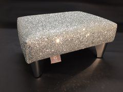 Luxury Silver Sparkle Glitter Footstool Small. Glitter Furniture on this site