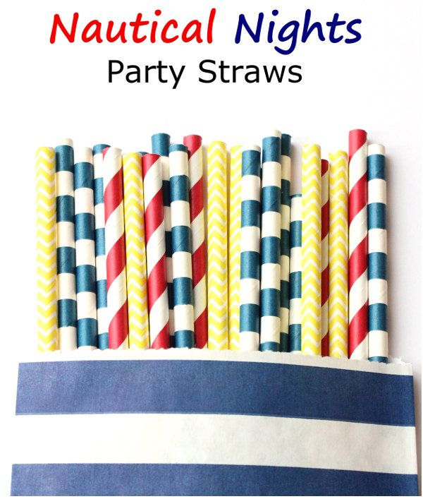 Navy blue, yellow and red paper straws-set of 25- nautical party straws, nautical parties, wedding straws, yacht party straws by GlitterSaturday on Etsy