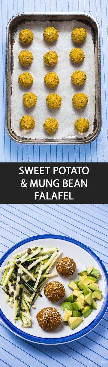 Sweet Potato & Mung Bean Falafel - These Mung Bean Falafels are made with sweet potato then baked in the oven instead of deep-fried, thus a healthier alternative to the traditional version.  #DairyFree #GlutenFree #LactoseFree #MainCourse #Snacks #Vegan #WheatFree #mungbean #falafals