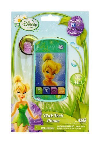 Disney Fairies Tink Tech Phone by Disney Fairies. $9.99. Iconic fairies features. Phone features lights and realistic cell phone sounds. Recommended for ages 3+. From the Manufacturer                Pretend to talk to your favorite Pixie Pal with this Disney Fairies cell phone. Phone features lights and realistic cell phone sounds. Iconic fairies features. Recommended for ages 3+.                                    Product Description                Disney Fairies ...