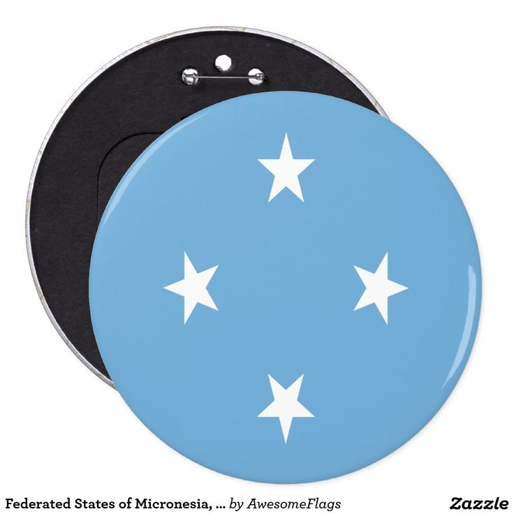 Federated States of Micronesia, flag 6 Cm Round Badge