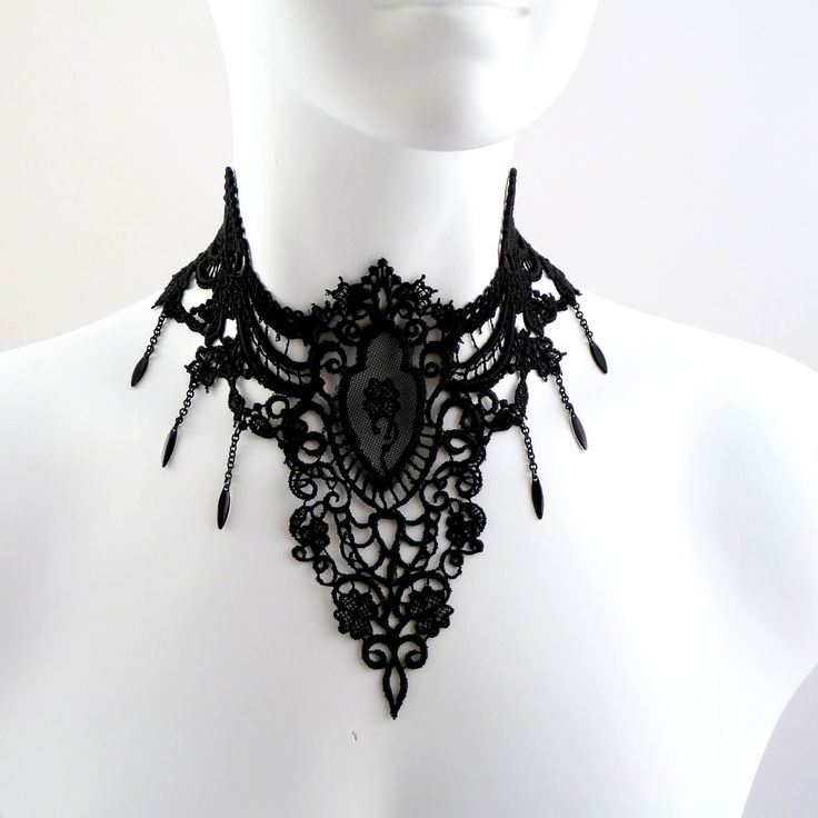 Gothic Large Black Lace Choker Necklace with Medallion ...