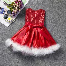 Natal Do Bebê Vestido de Princesa Infantil Vestidos Da Menina de Verão criança Crianças vestido Da Menina para a Roupa Das Meninas Vestidos de Lantejoulas Vermelhas Roupas(China (Mainland))