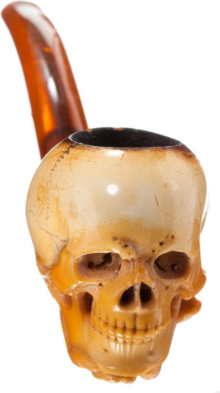 ☆ Superb Meerschaum Pipe with Hand Holding Human Skull :¦: Heritage Auctions ☆