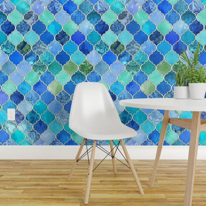 Highland Dunes Andrei Ogee Removable Peel And Stick Wallpaper Panel Wayfair Moroccan Wallpaper Wallpaper Panels Decor