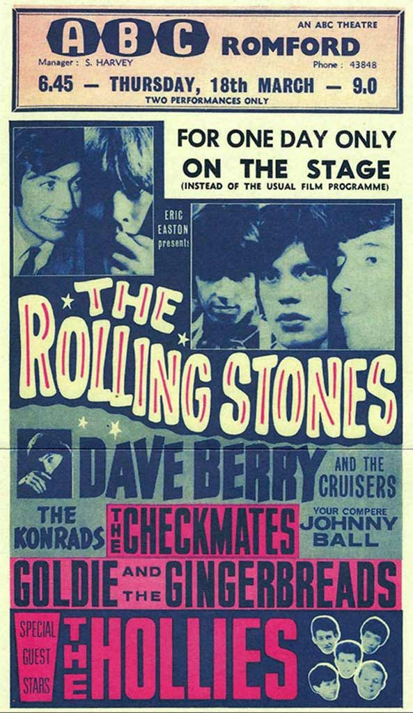 1963 Rolling Stones Concert Poster with Dave Berry The Cruisers, The Konrads, The Checkmates, Johnny Ball, Goldie The Gingerbreads, and The Hollies