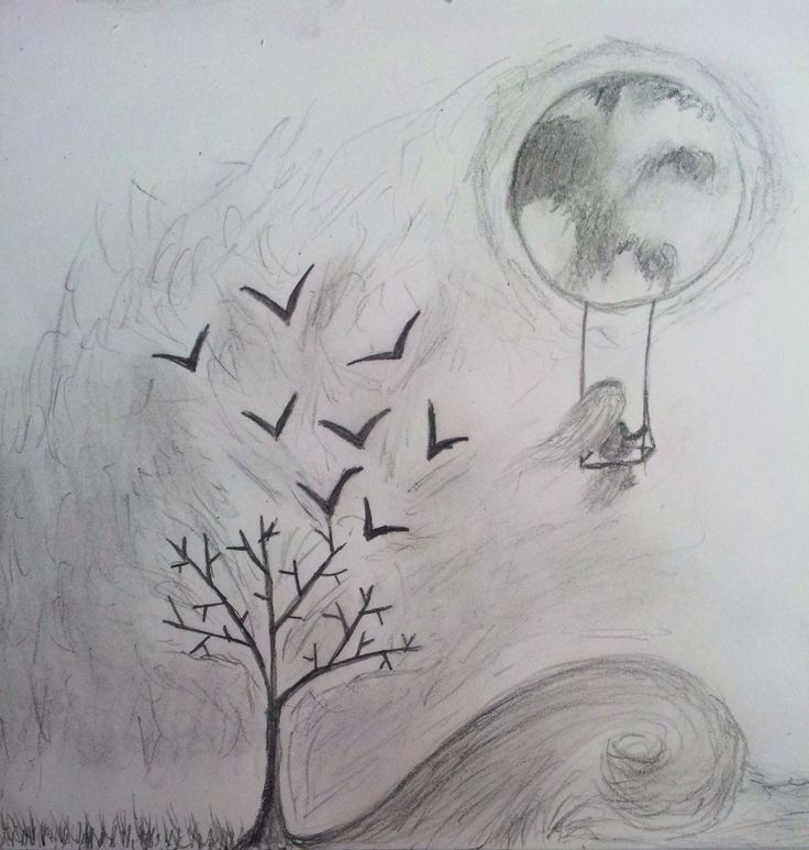 Birds, tree, moon, grass, people, wave