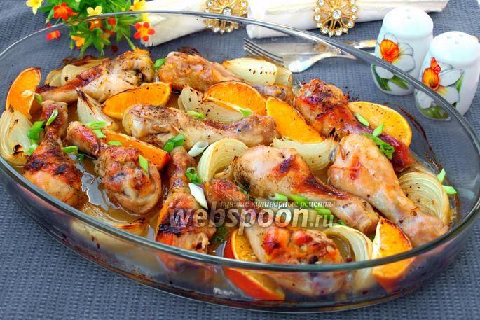 Фото Запечённая курица с апельсинами и луком