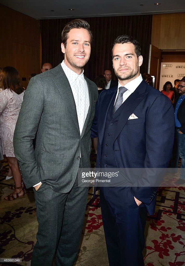 Armie Hammer and Henry Cavill attend Warner Bros. Pictures Canada and Audi Canada host a private cocktail reception for the Canadian premiere of 'The Man From U.N.C.L.E.' at Shangri-La Hotel on August 11, 2015 in Toronto, Canada.