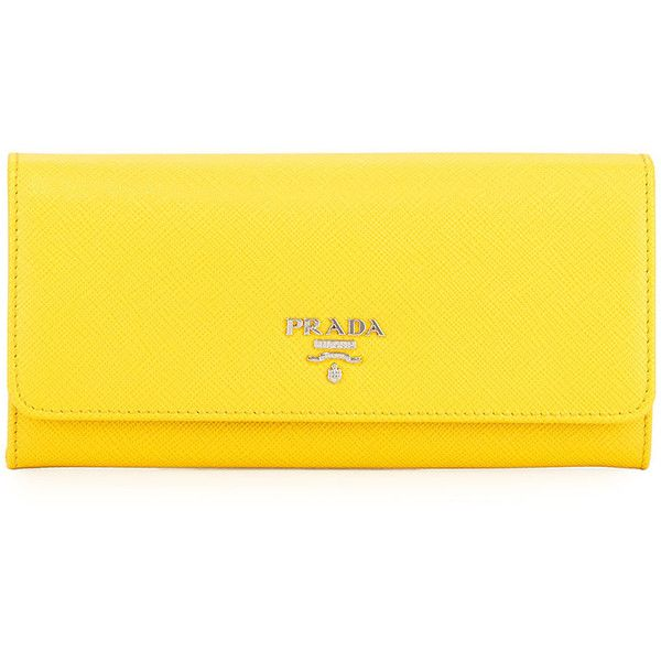 Prada Saffiano Continental Flap Wallet ($665) ❤ liked on Polyvore featuring bags, wallets, yellow, snap closure wallet, prada, continental wallet, snap bags and snap wallet