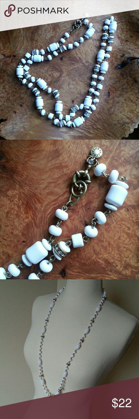 J Crew Necklace J Crew necklace. White beads, rhinestones, antiqued gold color. J Crew Jewelry Necklaces