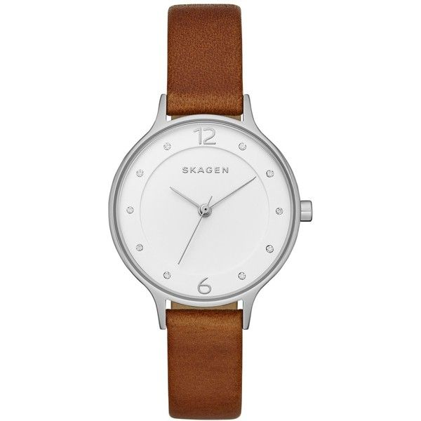 Skagen Women's Anita Brown Leather Strap Watch 30mm SKW2399 ($115) ❤ liked on Polyvore featuring jewelry, watches, brown, skagen, skagen wrist watch, skagen jewelry and skagen watches