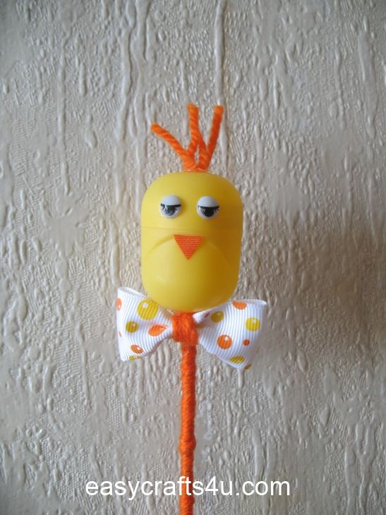 Easter chick tutorial using Kinder Surprise eggs.