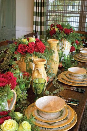 set for a tuscan dinner party