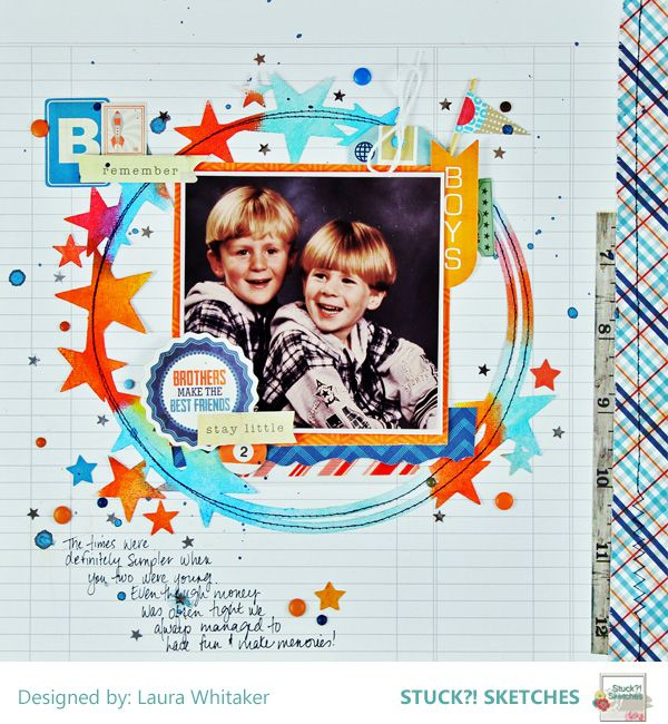 Borthers Make the Greatest Friends / Echo Park / Crate Paper / Gelatos / Distress Crayons / Laura Whitaker - Scrapbook.com