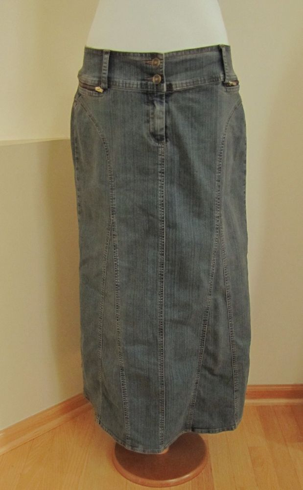CAbi Denim Jean Skirt 12 #162 Modest Maxi grayed Blue Boho Long No ...