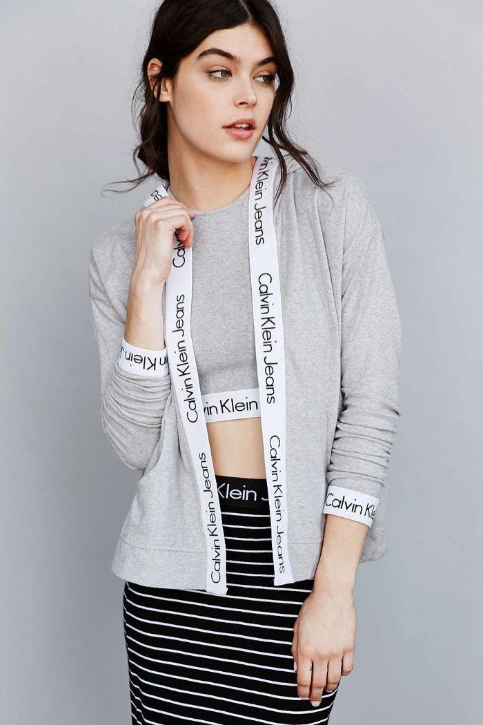 Model wears Hoodie for Calvin Klein Jeans Lookbook Photoshoot