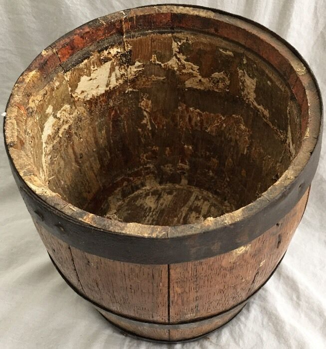 PITTSBURG Antique VTG PENN'A WHITE LEAD WORKS Oak Firkin Wood Paint Bucket Can