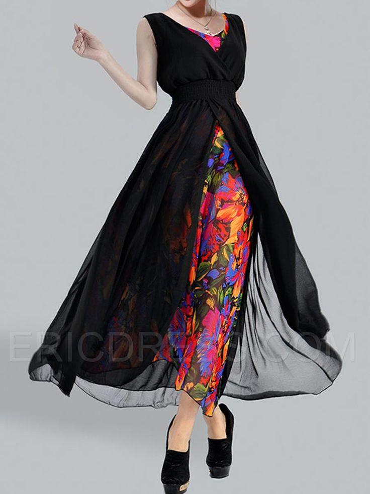 Ericdress Floral Print Slim V-Neck Sleeveless Dress 1