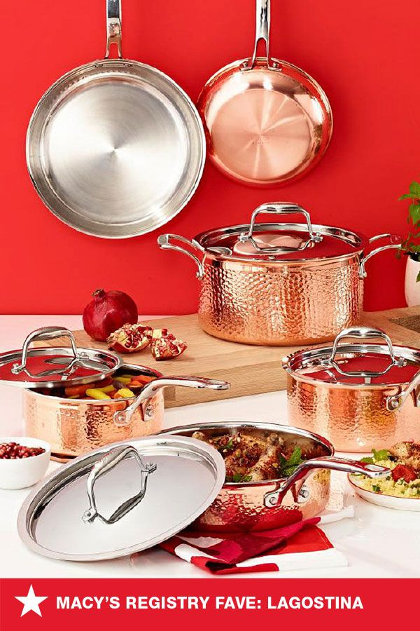 Working on a wedding registry? Add outstanding style and performance to your home with this cookware set from Lagostina. It includes all the basics you need to get your gourmet kitchen off to a great start. Go to macys.com to register for them today!