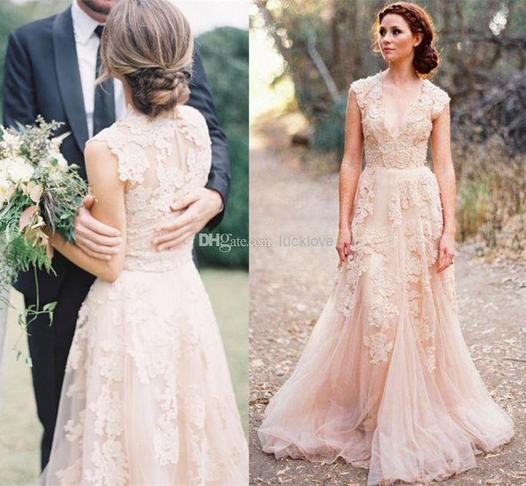 Great Cheap Vintage Lace Wedding Dresses Champagne Sweetheart Ruffles Bridal Gown Cap Sleeve Deep V Neck Layered Reem Acra Lace Bridal Gowns As Low As