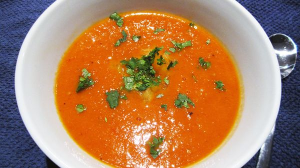 Roasted Fresh Tomato Soup - The smell of the fresh tomatoes roasting is intoxicating! Vegan & Gluten-Free...