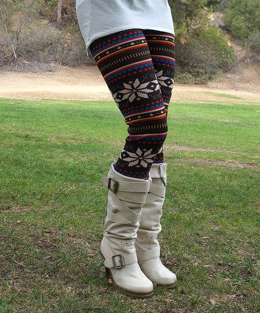 Love this Black & Blue Snowflake Leggings - Women by Super Nova on #zulily! #zulilyfinds $8.99