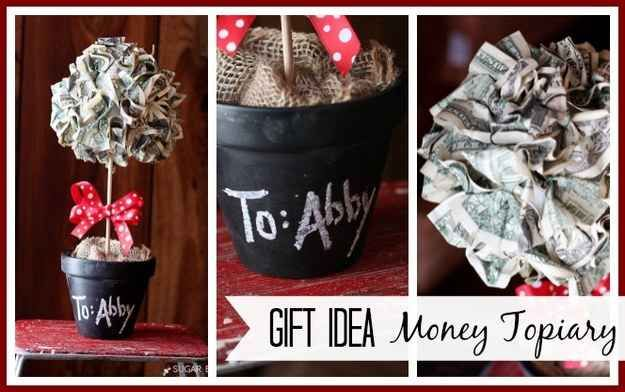 DIY a money topiary with a styrofoam ball and pins.