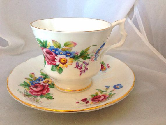 Royal Windsor English Fine Bone China Vintage Teacup & Saucer Set - Wild Flowers and Roses - pink green blue yellow - field flower floral