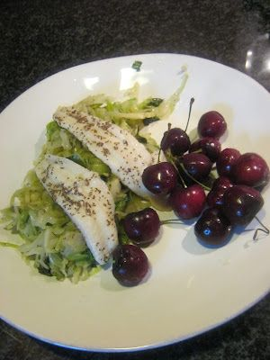 Lyme-friendly Recipes ~ Dinner (Phase 1) ~ Sole Filet withSauteed Cabbage with Basil and Fresh Cherries