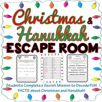 The Christmas/Hanukkah Escape Room will take students on a secret mission around the classroom! This escape room has students decode four FUN facts about Christmas and Hanukkah. This Escape Room has students walking around the classroom breaking codes.