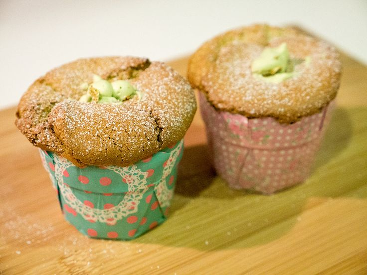 Purple bowl: Green tea Hokkaido cupcakes with green tea cream f...