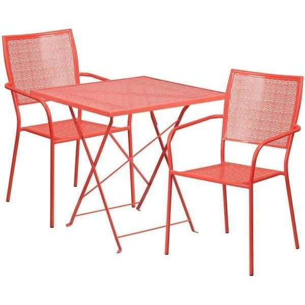 28 Square Indoor-Outdoor Steel Folding Patio Table Set with 2 Square... ❤ liked on Polyvore featuring home, outdoors, patio furniture, outdoor patio sets, bistro patio furniture, outdoor patio furniture, all weather patio furniture, outdoor furniture patio sets and outdoor patio set