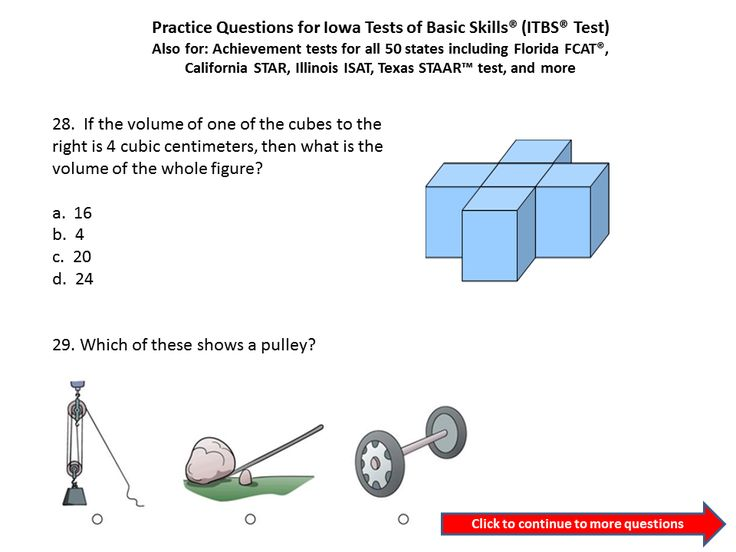Practice Questions For The Iowa Test Of Basic Skills ITBS