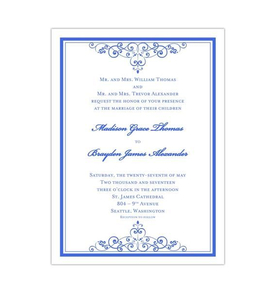 Wedding Invitation Vintage Royal Blue Diy Wedding Invitations Printable Templates Wedding Invitations Diy Fun Wedding Invitations