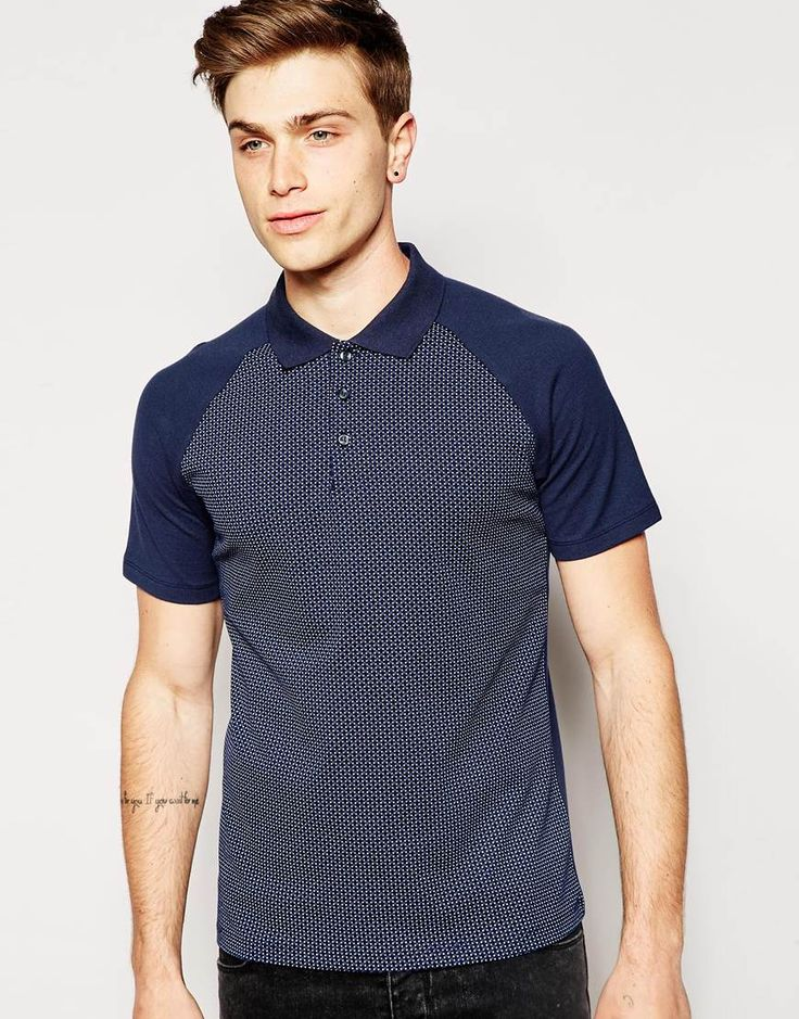 Jack & Jones Polo Shirt with All Over Print & Contrast Raglan Sleeves