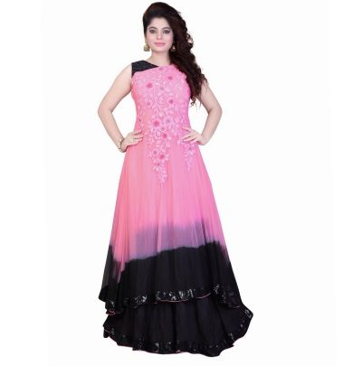 Buy Shiv Synthetics Pink And Black Floral Gown by SHIV SYNTHETICS, on Paytm, Price: Rs.9999?utm_medium=pintrest