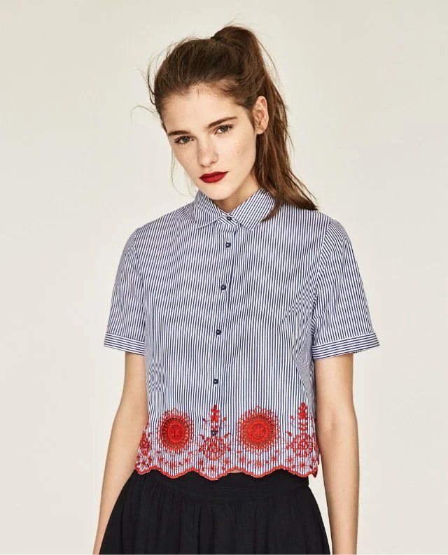 New Fashion Short Shirt Short Sleeves Blue Striped Crop Geomatric Embroidery Tops Women 2017 Sweet Slim Fit Shirts H71164