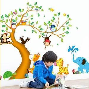 Mouton maison deco.Sticker mural enfant arbre et les animaux mignons hiboux oiseaux singes Giraffe zèbre éléphant S'applique sur toute surface lisse.Facile à installer:Décollez et appliquez.Peut être enlevé et repositionné.Fait en PVC autocollant et