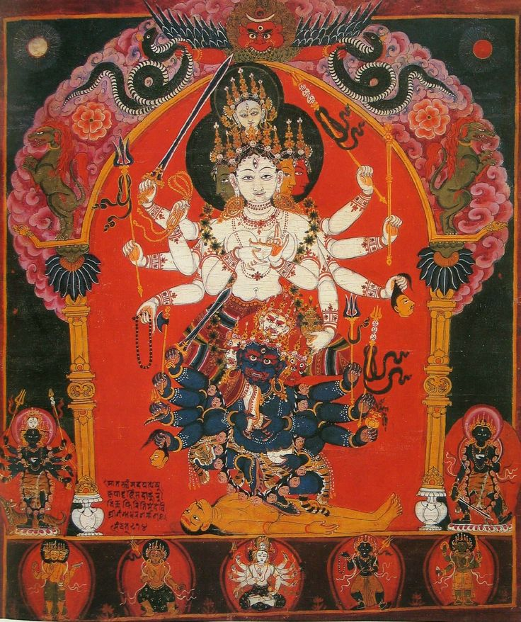 Siddha Lakshmi Devi upheld by Mahakala Deva. Nepal 1600's.